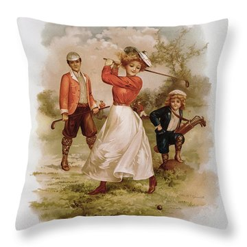 Golfing Throw Pillow by Ellen Hattie Clapsaddle