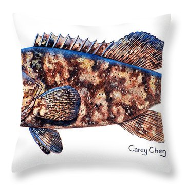 Goliath Grouper Throw Pillow by Carey Chen