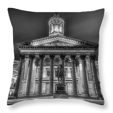 Goma Glasgow Lit Up Mono Throw Pillow by John Farnan