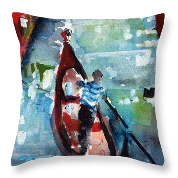 Gondola In The Mist Venice Italy Throw Pillow