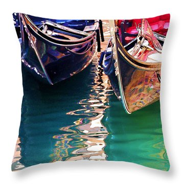 Throw Pillow featuring the digital art Gondola Love by Brian Davis
