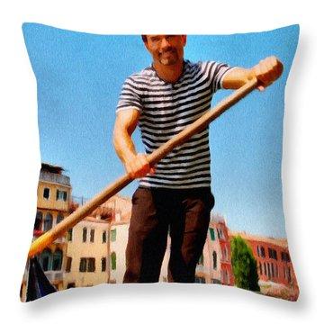 Gondolier Throw Pillow by Jeff Kolker