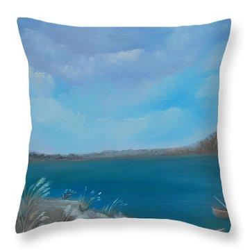 Gone Fishin Throw Pillow
