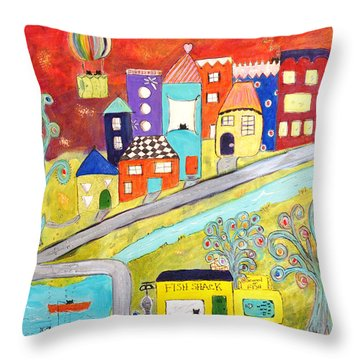 Throw Pillow featuring the painting Gone Fishin' by Lou Belcher