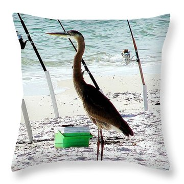 Gone Fishing Throw Pillow by Debra Forand