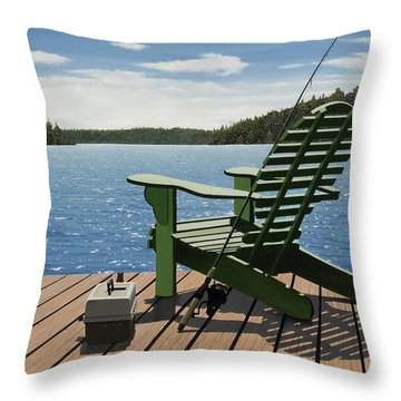 Gone Fishing Aka Fishing Chair Throw Pillow