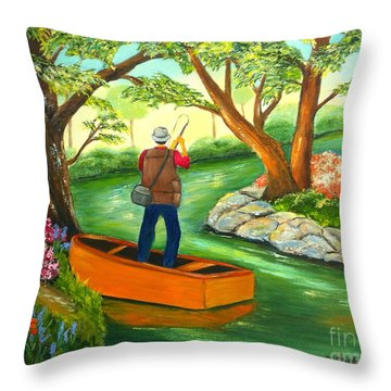 Throw Pillow featuring the painting Gone Fishing by Shelia Kempf