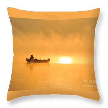 Throw Pillow featuring the photograph Gone Fishing by Terri Gostola