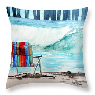 Throw Pillow featuring the painting Gone Swimmin' by Tom Riggs
