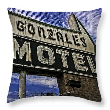 Gonzales Motel In Color Throw Pillow by Andy Crawford