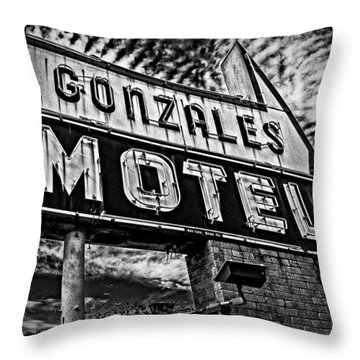 Gonzales Motel Sign Throw Pillow by Andy Crawford