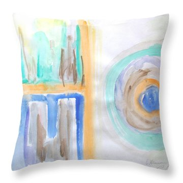Good Afternoon Abstract Throw Pillow by Esther Newman-Cohen