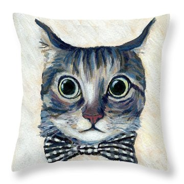 Good Boy Cat With A Checked Bowtie Throw Pillow