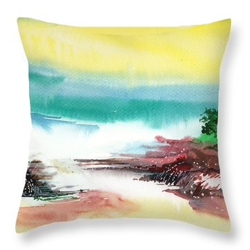 Good Evening Throw Pillow by Anil Nene