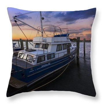 Good Fishing Throw Pillow by Debra and Dave Vanderlaan