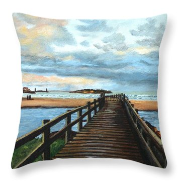 Good Harbor Beach Gloucester Throw Pillow by Eileen Patten Oliver