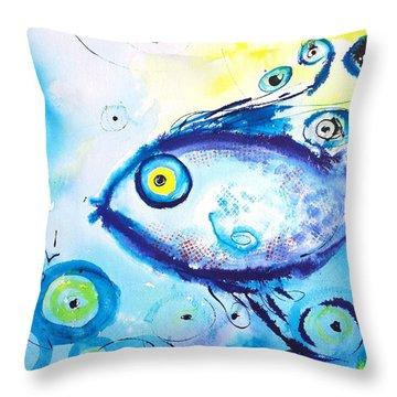 Good Luck Fish Abstract Throw Pillow