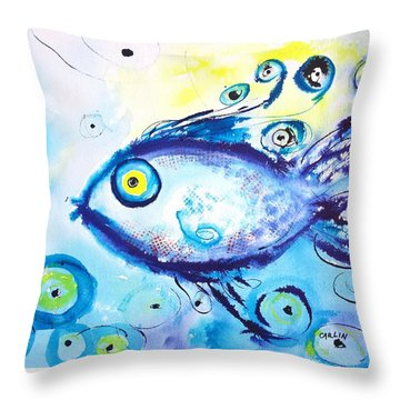 Good Luck Fish Abstract Throw Pillow