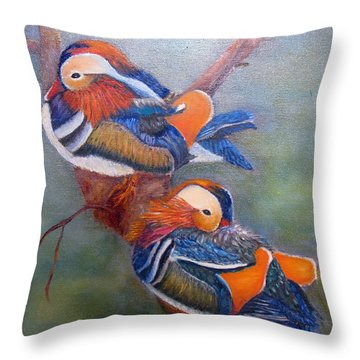 Good Luck Mandarins Throw Pillow by Loretta Luglio