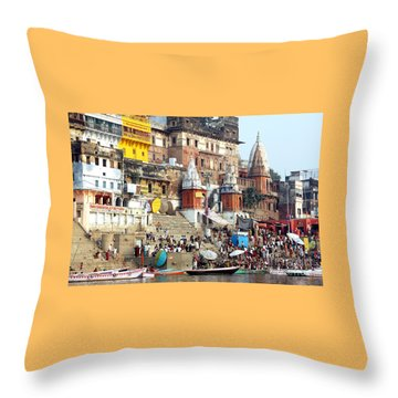 Good Morning Ganga Ji 2 Throw Pillow