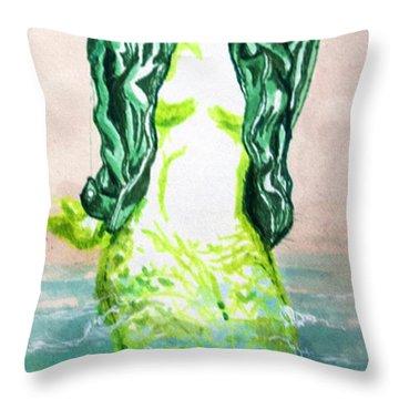 Good Morning Little Mermaid Throw Pillow by Del Gaizo
