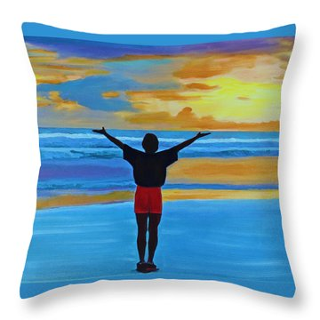 Throw Pillow featuring the painting Good Morning Morning by Deborah Boyd
