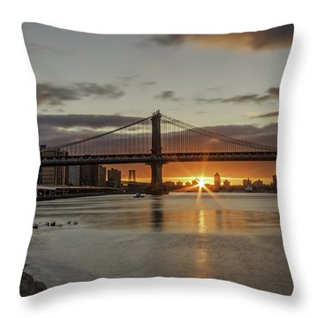 Throw Pillow featuring the photograph Good Morning Nyc  by Anthony Fields
