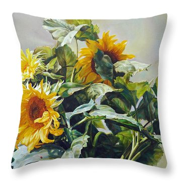 Throw Pillow featuring the painting Good Morning - Sunflower In Love by Svitozar Nenyuk