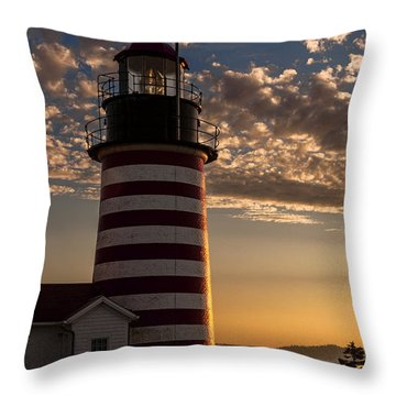 Good Morning West Quoddy Head Lighthouse Throw Pillow by Marty Saccone