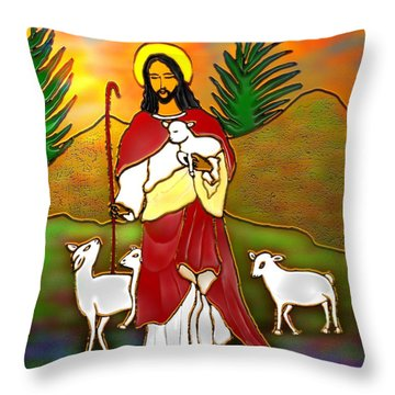 Good Shepherd Throw Pillow by Latha Gokuldas Panicker