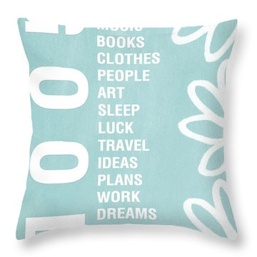 Good Things Blue Throw Pillow by Linda Woods