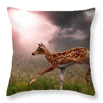 Goodbye Bambi Throw Pillow by Bill Stephens