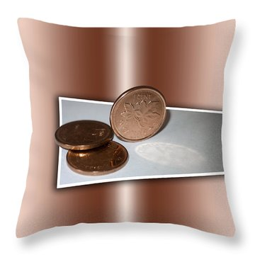Throw Pillow featuring the photograph Goodbye Canadian Penny by Pennie  McCracken