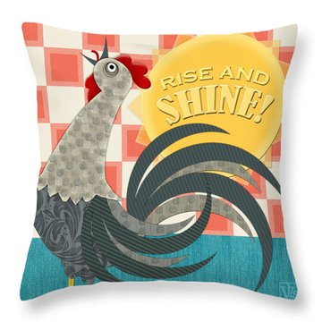 Goodmorning Rooster Throw Pillow by Valerie Drake Lesiak