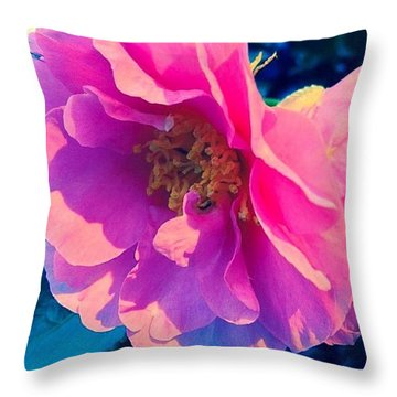 Goodnight Pink Camellia Throw Pillow