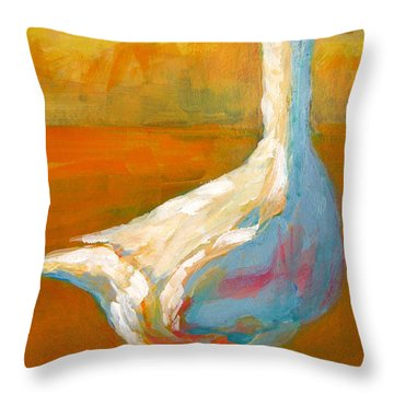 Goose A Farm Animal Throw Pillow by Patricia Awapara