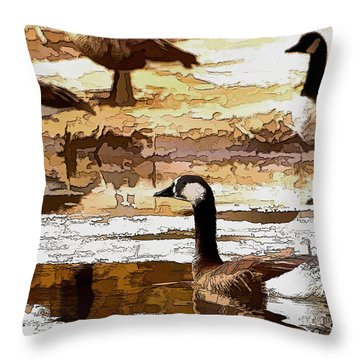 Goose Abstract Throw Pillow