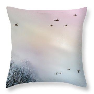 Goose Flight Throw Pillow by Hannes Cmarits