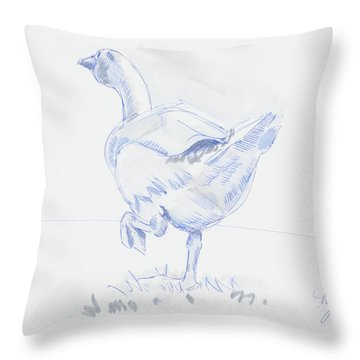 Goose Walking Throw Pillow
