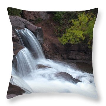 Throw Pillow featuring the photograph Gooseberry Falls In Slow Motion by James Peterson