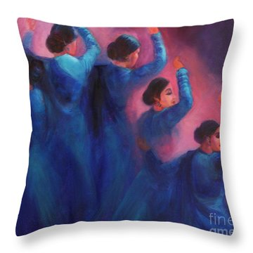 Gopis Dancing In The Dusk Throw Pillow
