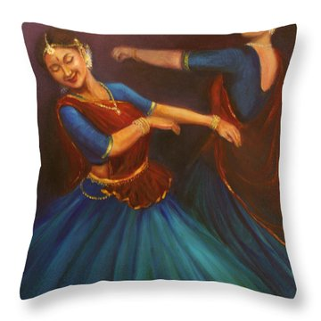 Gopis Dancing To The Flute Of Krishna Throw Pillow