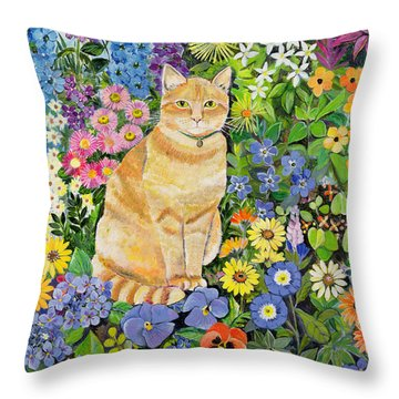 Gordon S Cat Throw Pillow by Hilary Jones