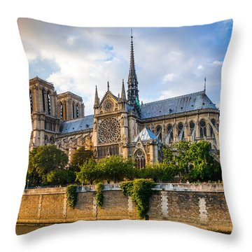 Gorgeous Sunset Over Notre Dame Cathedral Throw Pillow