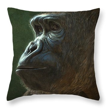 Gorilla Throw Pillow by Aaron Blaise