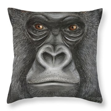 Throw Pillow featuring the painting Western Lowland Gorilla Face - Fine Art Print - Stock Illustration - Stock Image  by Urft Valley Art