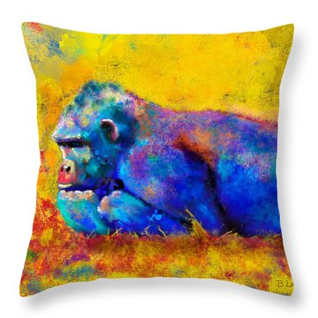 Gorilla Throw Pillow by Sean McDunn
