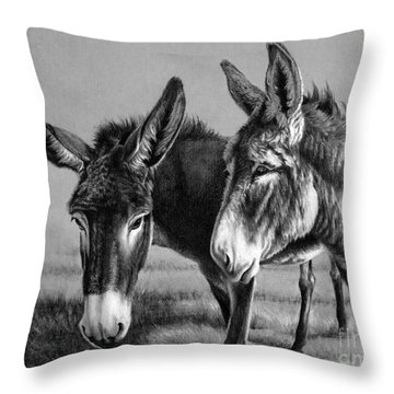 Throw Pillow featuring the drawing Gossip by Pat Burns