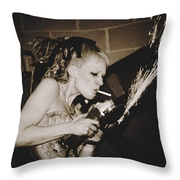 Throw Pillow featuring the photograph Got A Light by Alice Gipson