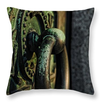 Goth - Crypt Door Knocker Throw Pillow by Paul Ward